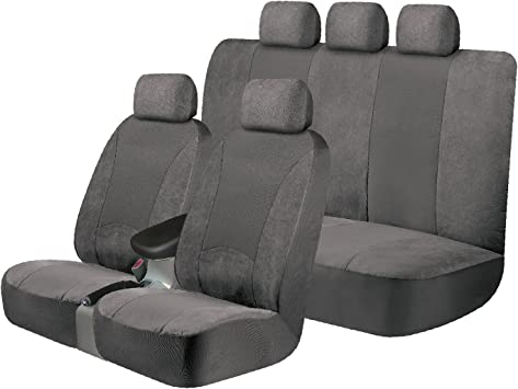 Black Kraco 805367 Universal Fit 3-Piece SGX Scotchgard Seat Cover Kit Contains 2 Low Back Seat Covers and 1 Standard Bench Seat Cover