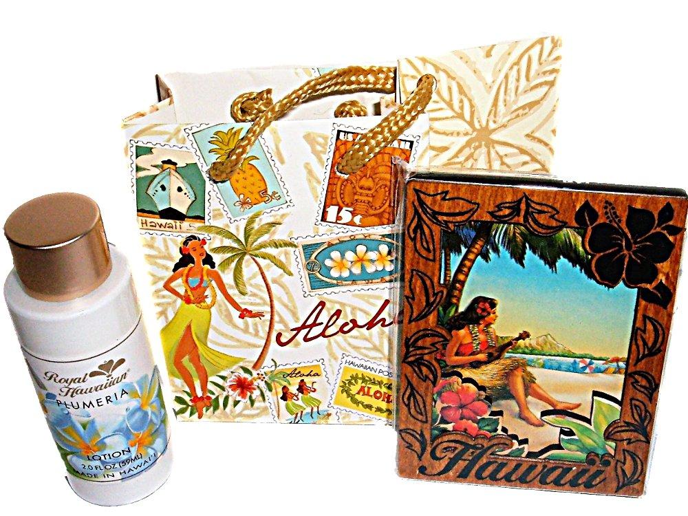 Hawaiian Plumeria Travel Size Lotion & Wood Hula Girl Magnet in Gift Bag Set by The Island Bath & Body (Image #1)