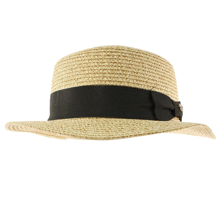 17c13ba1d73 Men s Summer Boater Straw Pork Pie Derby Fedora Flat Top Gambler Hat Natural  S M at Amazon Men s Clothing store