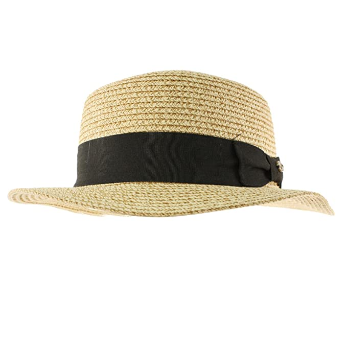 2b1f1bbfd22 Image Unavailable. Image not available for. Color  Men s Summer Boater  Straw Pork Pie Derby Fedora Flat Top Gambler Hat ...