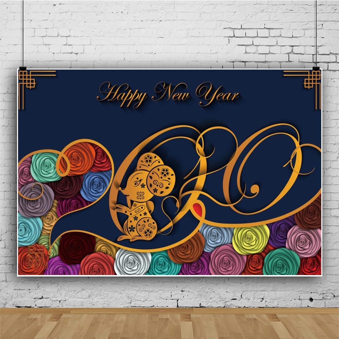 AOFOTO 10x8ft Happy New Year 2020 Backdrops Golden Dancing Mouse Year of The Rat Paper Cut Flowers Pattern Traditional Chinese Spring Festival Background for Photography Photo Studio Props Vinyl