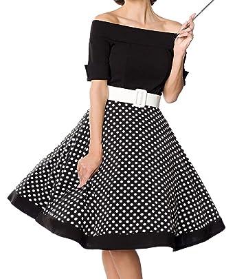 Unbekannt Schwarzes Kurzes Swing Kleid im High Waist Schnitt mit Gürtel und  Tellerrock weiß gepunktet und Schulterfrei Bandeau  Amazon.de  Bekleidung 75577ab13b