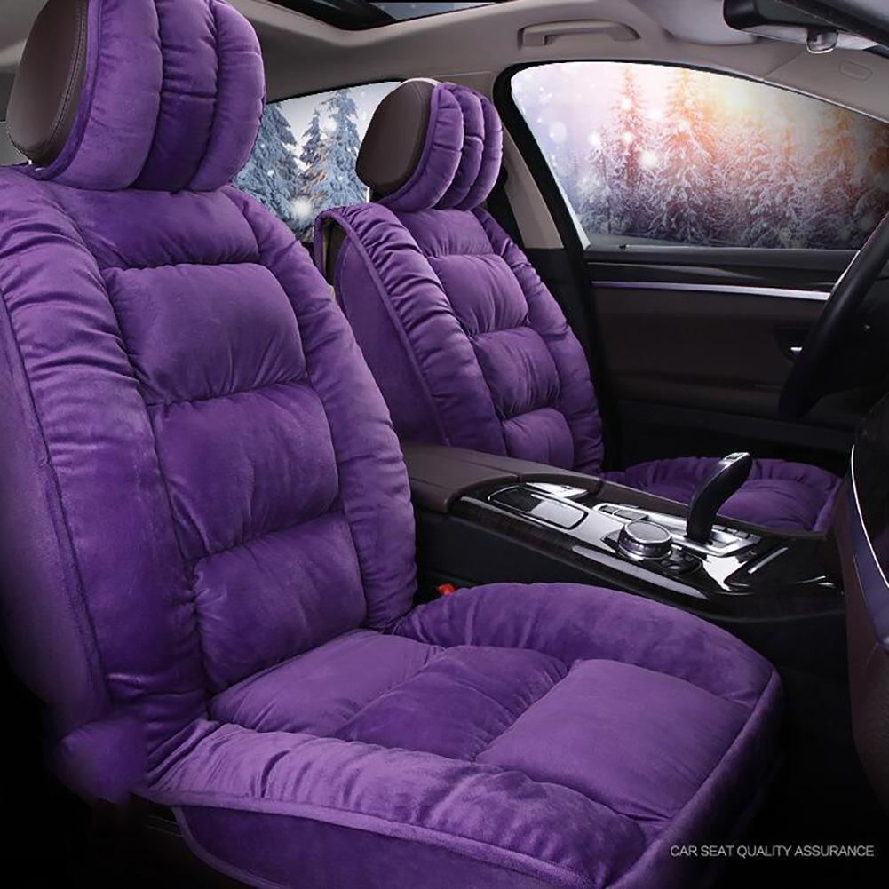 Auto Accessories New 3D Full of Winter Short Plush Car Cushion Winter Warm Feathers Cushion, Purple, A