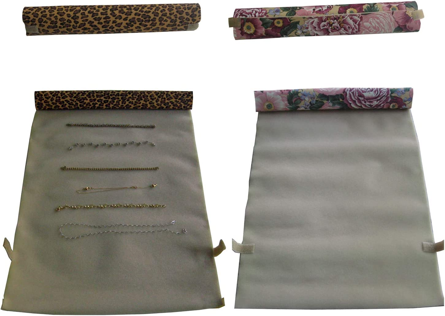 Unroll Them Later and find All Your Jewelry Exactly as You Placed Them Earrings Each unrolls to 13 x 26 Set of 2 Rings 2 pc Organize Travel Storage roll ups for Tangle Free Necklace Chains