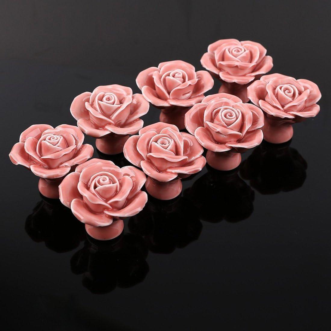 Haunen Haunen Ceramic Handle Pull Knobs Set of 8 Rose Flower Ceramic Door Knobs Drawer Cupboard Pulls Handles for Home Decor