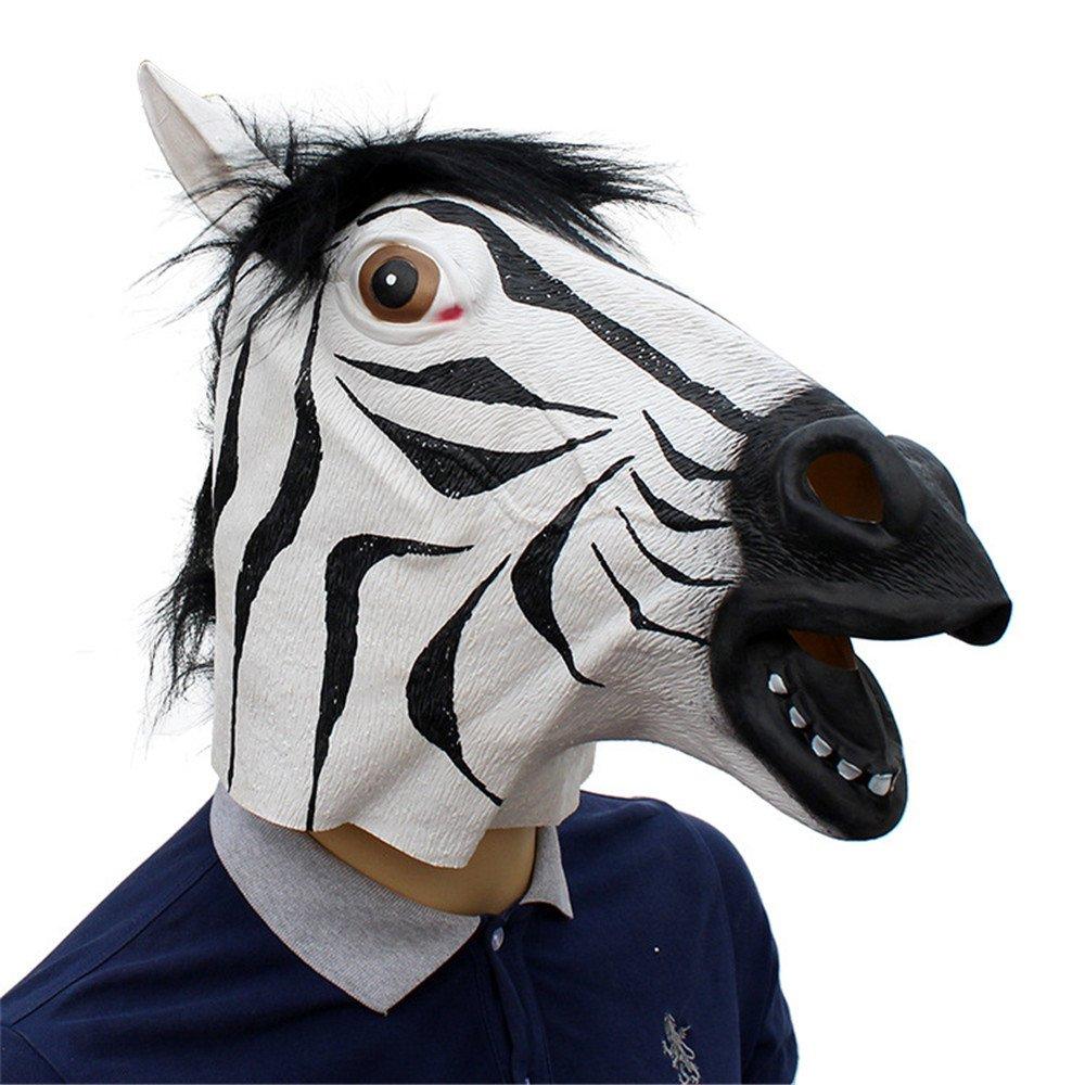 JTWJ Festa di Halloween Festa fornisce Maschera in Lattice Animale Zebra
