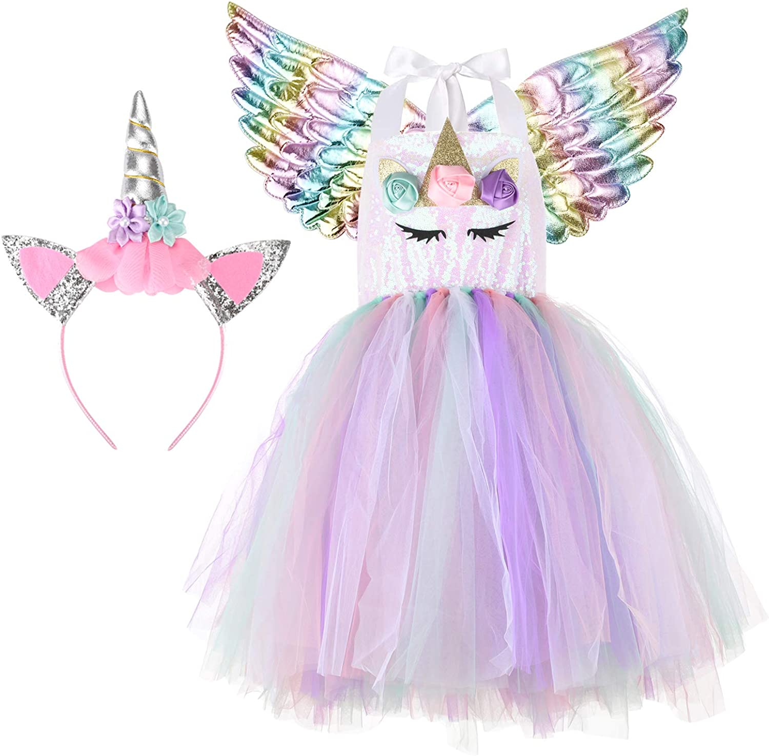 Halloween Unicorn Costumes for Girls with Headband and Wings: Clothing