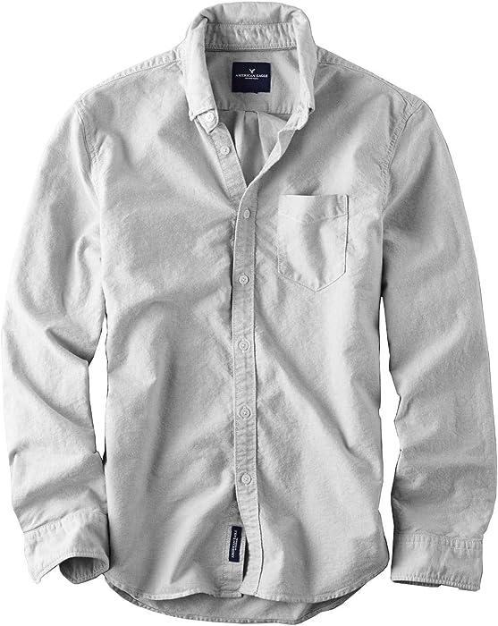 50ac29b9 American Eagle Mens Oxford Button-Down Shirt Chambray Grey (X-Small ...