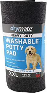 Drymate Heavy Duty Washable Potty Pad, Reusable Pee Pad for Puppy Training – Absorbent/Waterproof – Protects Surfaces, Contains Liquids (USA Made)
