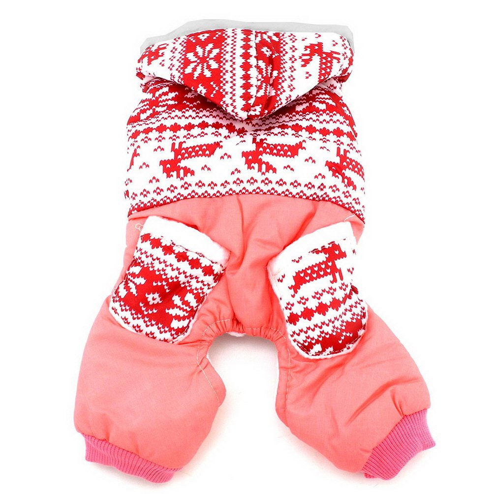 SELMAI Small Dog Winter Snowsuit Coat Hooded Fleece Pet Puppy Jumpsuit Four-leg Windproof Chihuahua Doggie Clothes Outfits Pink S