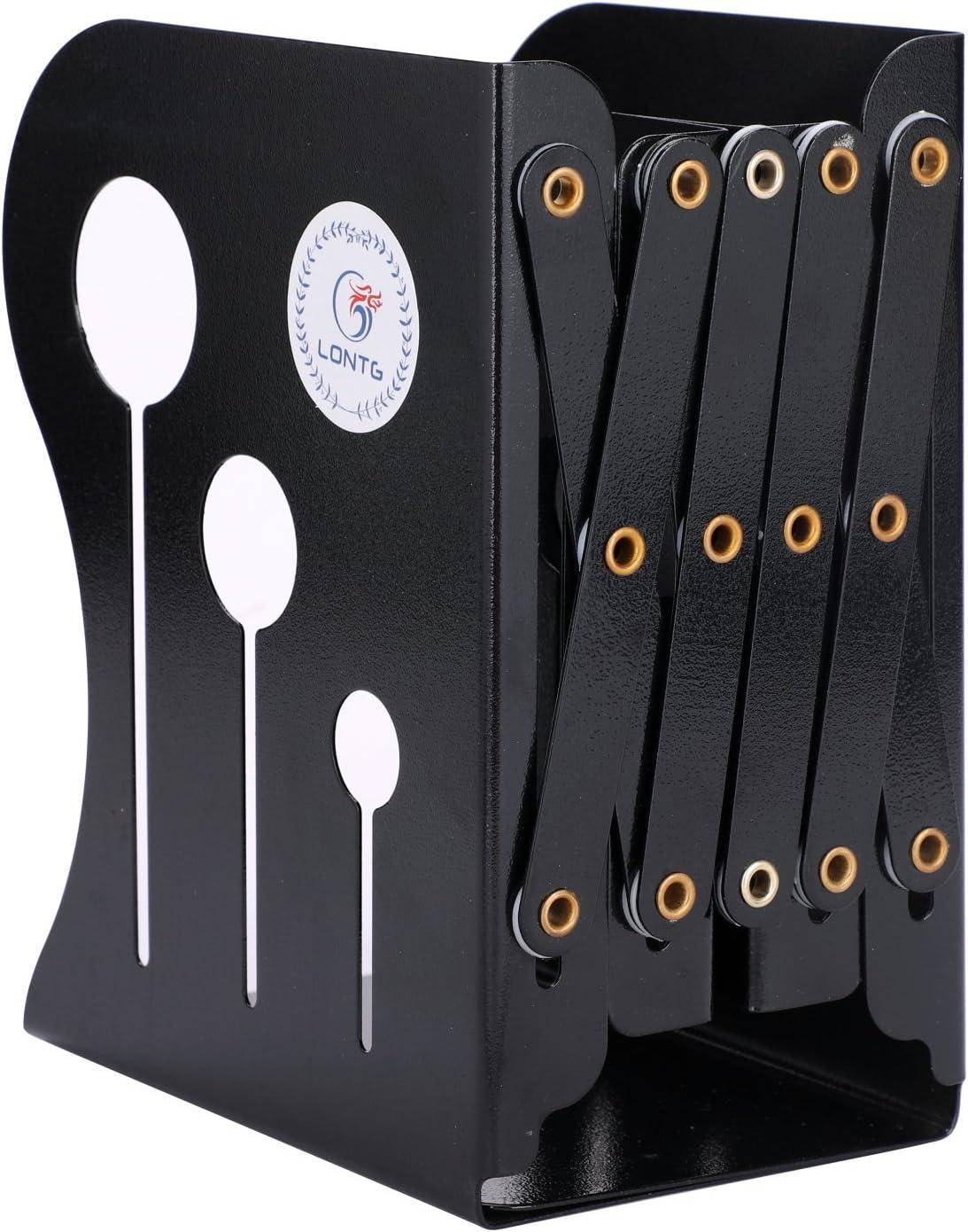 rétractable Heavy Duty antidérapante Serre-livres Bureau Boîte de rangement organisateur en métal Porte-revues support Desk Tidy livre étagère support support pour accordéon gris YJZQ
