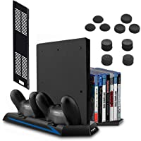 [Newest Version] Keten Vertical Stand for PS4 Slim / PS4 with Cooling Fan 2 in 1 Controller Charging Station and Game…