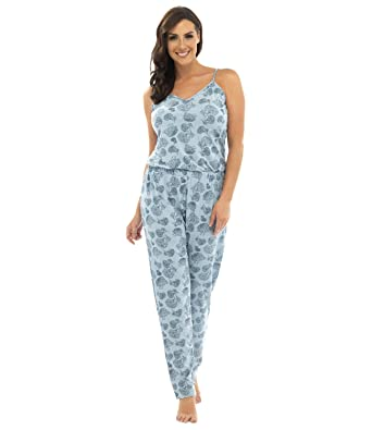 Ladies Jersey Sleeveless All In One Pyjama Set Chrysanthemum Print Lounge Wear Clothing, Shoes & Accessories Sleepwear & Robes