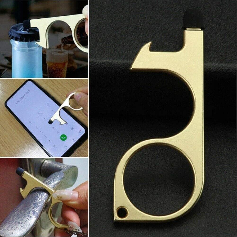 2 unidades lat/ón dorado y plateado KINGBOO Abrepuertas sin contacto llave herramienta para manija de puerta p/ública al aire libre dorado metal bot/ón t/áctil