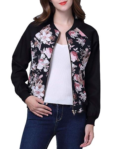 Primavera y Otoño Mujeres Bomber Chaquetas Manga Larga Jacket Ropa de Abrigo Tops Moda Impresión Costura Corto Outerwear Cazadora Blouse Baseball Coat: ...