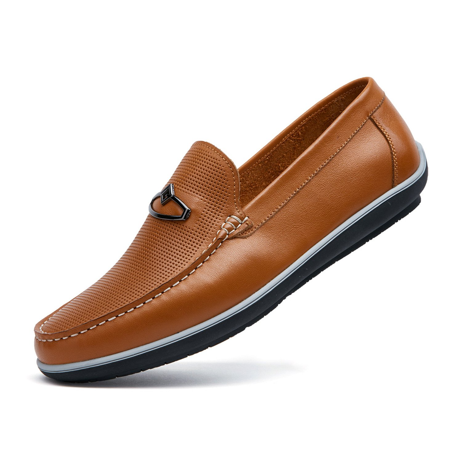 ZRO Men's Fashion Buckle Casual Loafers Summer Shoes Breathable Brown US 6