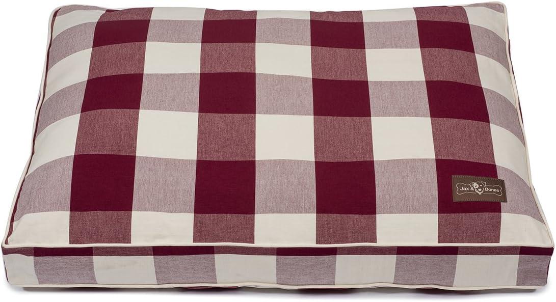 Jax and Bones Premium Cotton Blend Rectangular Pillow Bed, Large, Buffalo Check Crimson