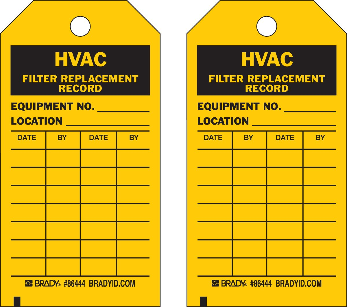 Brady  86444 5 3/4'' Height x 3'' Width, Heavy Duty Polyester (B-837), Black on Yellow HVAC Tags (10 Tags)