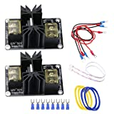 Unime Hot Bed Power Module for 3D Printer Expansion Heat Bed Power Module General Add-on High Current Load Module Mos Tube Hotend Replacement with Cables - 2 Pack