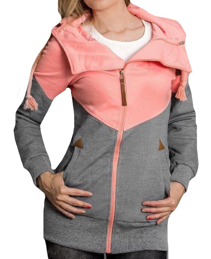 Abetteric Womens Plus Velvet Mix Color Drawstring Utility Sweatshirts Pink S