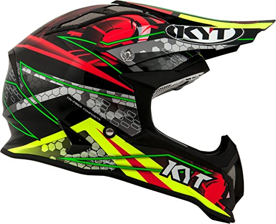 Amazon.es: KYT casco Moto Cross off-road Strike Eagle, Web Matt Green/Red, talla M 57 - 58 cm