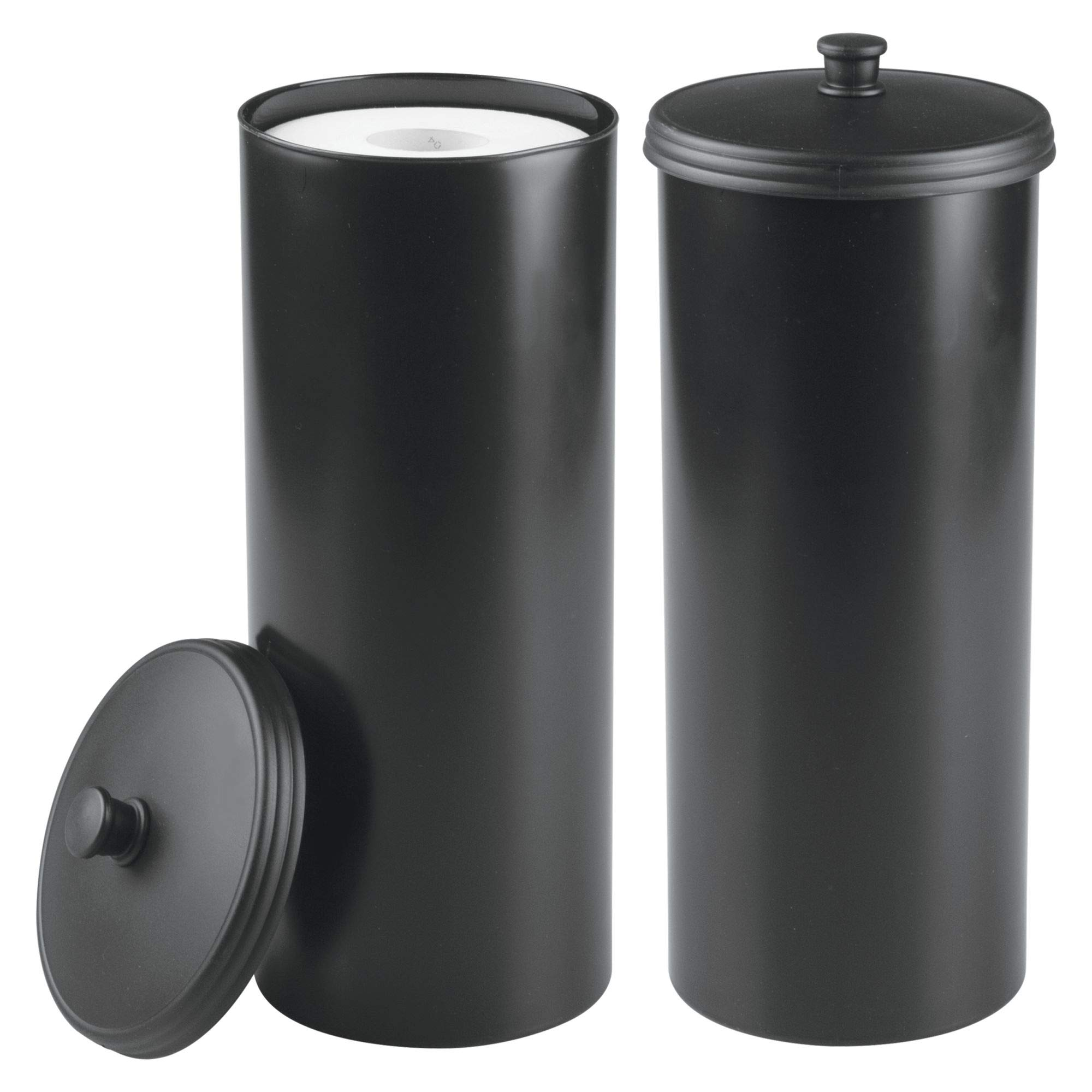 mDesign Plastic Free Standing Toilet Paper Holder Canister with Storage for 3 Extra Rolls of Toilet Tissue - for Bathroom/Powder Room - Holds Mega Rolls, 2 Pack - Black