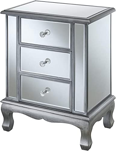 Convenience Concepts Gold Coast Accent End Table, Antique Silver Mirror