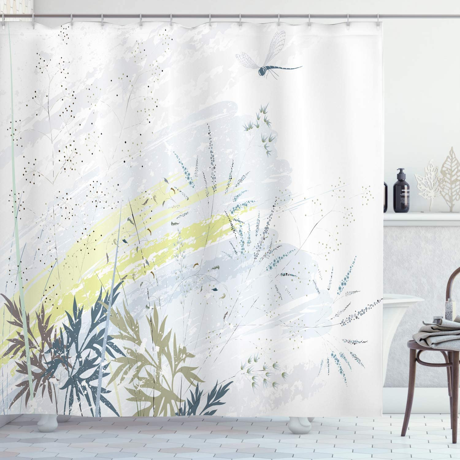 Ambesonne Dragonfly Shower Curtain, Wild Herb Grass Field Distressed Background with Dragonflies Lifestyle Graphic, Cloth Fabric Bathroom Decor Set with Hooks, 75