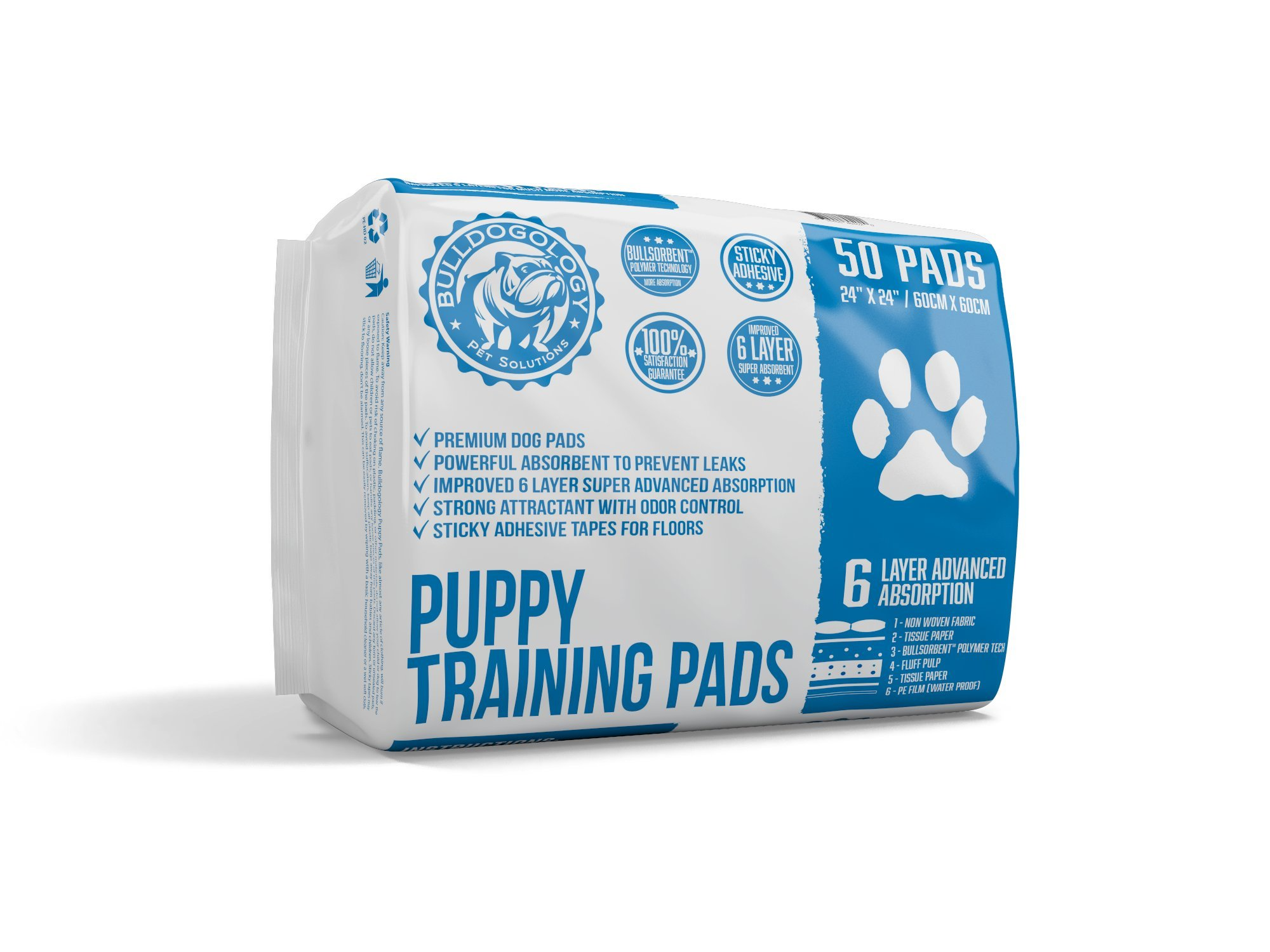 Bulldogology Premium Puppy Pee Pads with Adhesive Sticky Tape - Dog Training Wee Pads (24x24 Large, 50-Count)