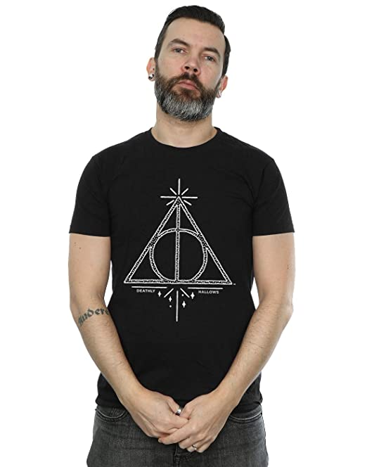 Harry Potter Hombre Deathly Hallows Symbol Camiseta Small Negro