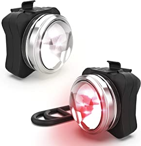 NP NIGHT PROVISION OPTIKS 210 Bike Lights Front and Back USB Rechargeable LED Bike Light Set Super Bright Optical Lens Use As Headlight, Helmet Light, Rear Taillight (2 USB Cables, 4 Straps Included)