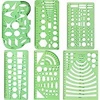 URlighting Measuring Templates (6 Pcs) Plastic Geometry Stencils Template Geometric Rulers Stationary Tool Kit for…