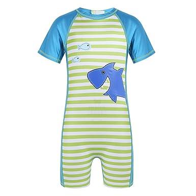 7ad30aa8acde6 Alvivi Maillots de Bain Bébé Garçons Une Pièce Combinaison Imprimé Requin  Tee Shirt à Rayure Manches