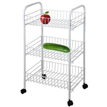ASAB 3 Tier Carrito para Verduras Frutas Accesorio de Cocina Soporte con Ruedas Soporte de Cesta de Unidades de Almacenamiento de Alimentos 63 x 24 x 37 cm: ...