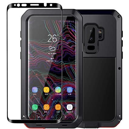Galaxy S9 Plus Case, Armor Tank Aluminum Metal Shockproof Military Heavy Duty Protector Cover Hard Case and Tempered Glass Screen Protector [Full ...