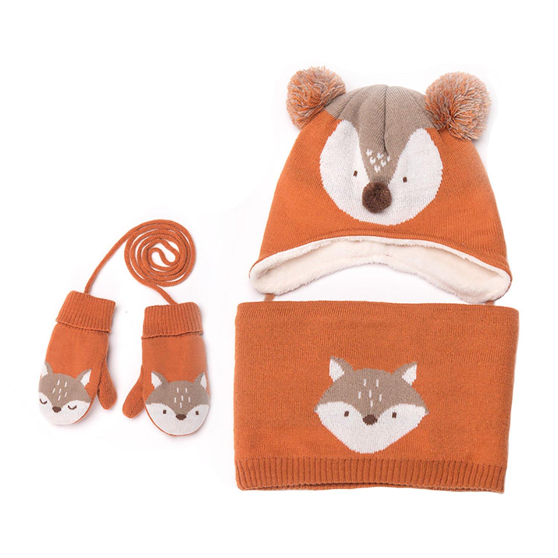 Bambino cappelli bambino Mittens bambine ragazzi inverno caldo maglia cappello sciarpa + guanti + 3pezzi Set arancione orange Nanny McPhee