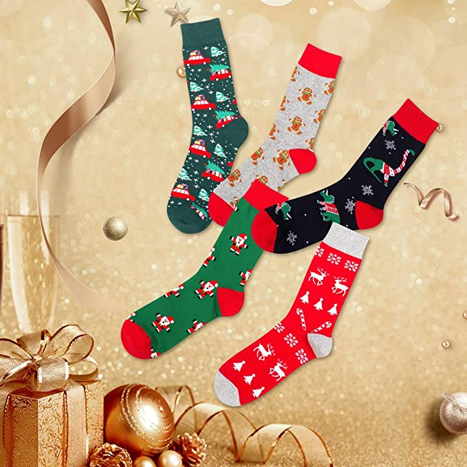 Men/'s Women/'s Christmas Socks Dress socks Colorful Holiday Fashion Funny Cute Design for Men Women