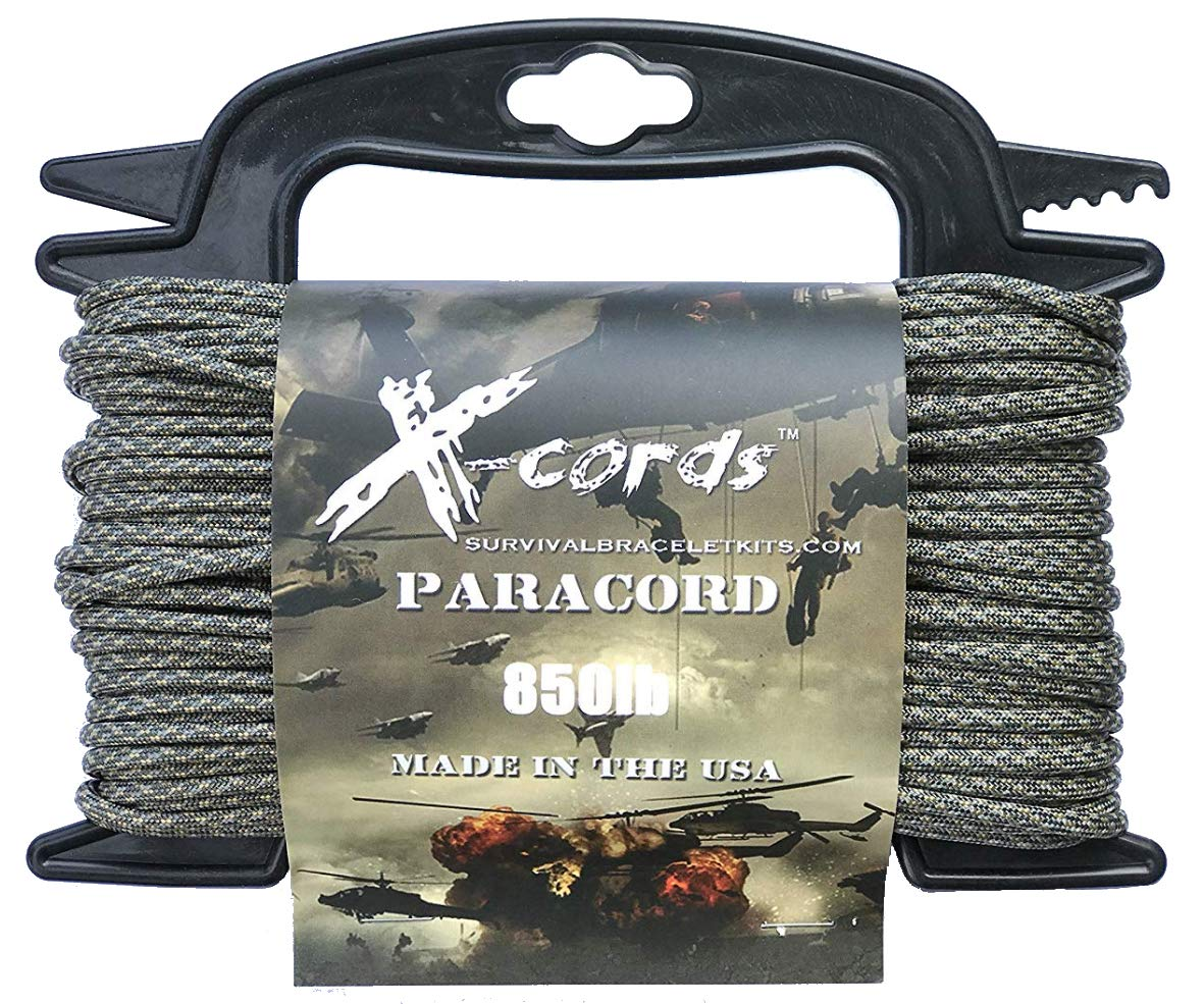 X-CORDS Paracord 850 Lb Stronger Than 550 and 750 Made by Us Government Certified Contractor (100' ACU CAMO ON Spool 850LB)