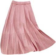 Ninmon Shares Women Winter Cable Knit A-Shape Pleated Hollow Hem Skirts