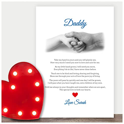 personalised dad birthday poem gift birthday gifts for daddy dad hand poem personalised any recipient for