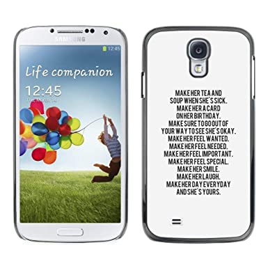 GIFT CHOICE Slim Hard Protective Case SmartPhone Shell Cell Phone Cover For Samsung Galaxy S4 Text Letter Motivational Inspiring Quote