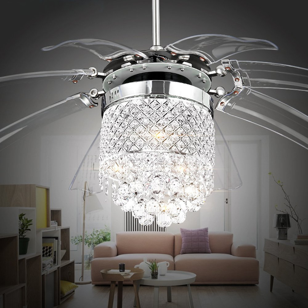 Luxurefan Modern Crystal Ceiling Fan Lamp for Living Room with 8 Foldable Transparent Acrylic Leaves with Invisible Take-Off Chandeliers of Sand Nickel 42 Inch