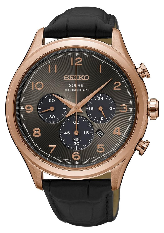 [セイコー] SEIKO 腕時計 Seiko Men's 'Solar Chronograph' Quartz Stainless Steel and Leather Casual Watch, Color:Black 日本製クォーツ SSC566 メンズ 【並行輸入品】 B074CRL1PP