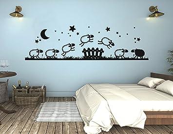 tjapalo® S-pkm45 Wandtattoo Kinderzimmer Wandtatoo Baby Schaf Schäfchen  zählen junge Mädchen Wandsticker (B100 x H28 cm)