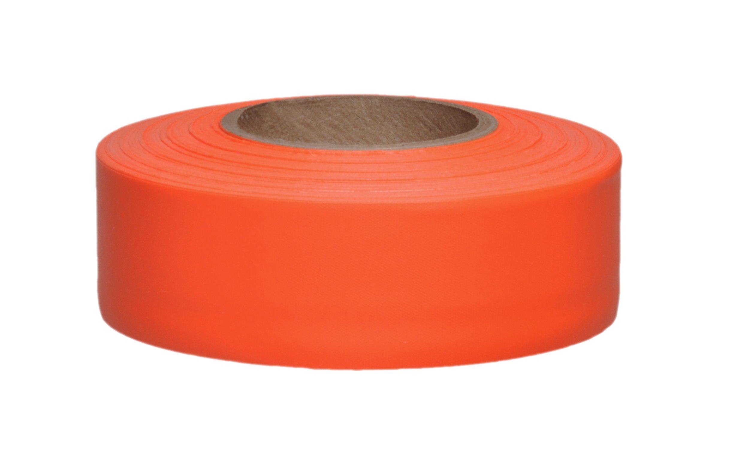 Presco TF1OG-658 150' Length x 1'' Width, PVC Film, Taffeta Orange Glo Solid Color Roll Flagging (Pack of 100)