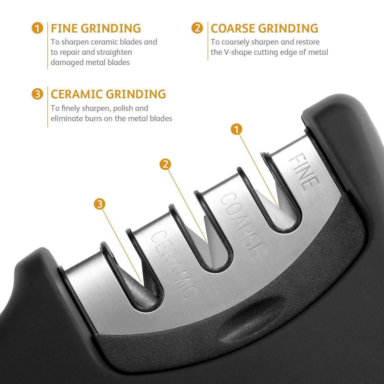 Knife Sharpener- Professional Kitchen Knife Sharpener 3 Stage Steel Diamond Ceramic Coated Kitchen Sharpening Tool with Cut Resistant Glove - Non-slip Base Chef Knife Sharpening Kit Easy to Control by HKSH (Image #2)