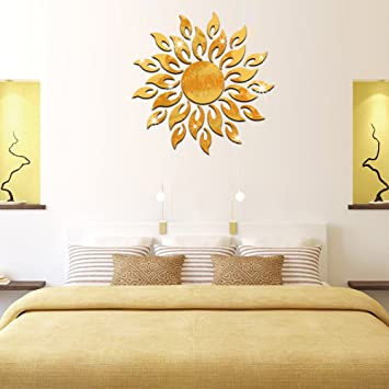 Karigaari India BIG SIZE Creative 3D Crystal Mirror Sun Flame Fire Flower Wall Stickers DIY Home