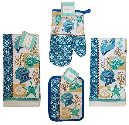 Toalla de cocina de concha marina y lino set: paquete de 4 piezas – (