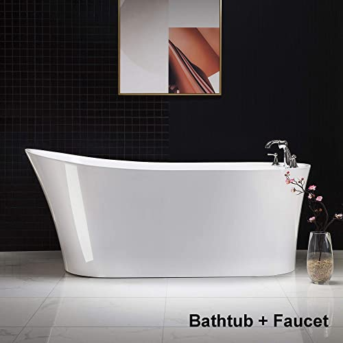 Woodbridge B-0084/BTA-0084 B/N F-0022BN 67″ Acrylic Freestanding Bathtub Contemporary Soaking Tub Overflow and Drain BTA0084-B,with Brushed Nickel Faucet F0022BN