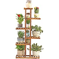 Wooden Plant Flower Stand, Outdoor Display Shelf,Indoor Storage Rack, for Yard Garden Patio Balcony ,6 Pot Holders Flower Pot Shelf (Brown,L56cmxW25cmxH120cm)